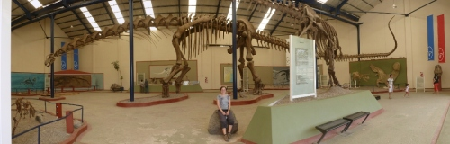 Sarah with the reconstruction of Argentinosaurus…all 40m of it!