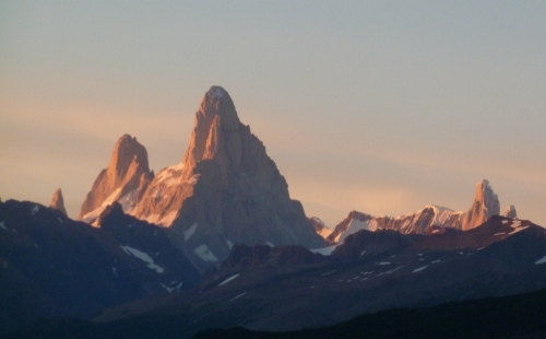 Up early for the sunrise (L to R: Mt Poincenot, Mt Fitzroy, Cerro Torre)