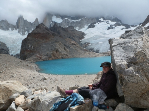 A cold lunch at Laguna Los Tres – Mt.Fitzroy invisible in the top half of this photo