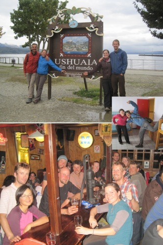 Some of the friends we managed to meet in Ushuaia: (top) M and M, (inset) Jorge, (bottom Bandavelo, Emilien, Xinhan, Gustavo, and Tomas