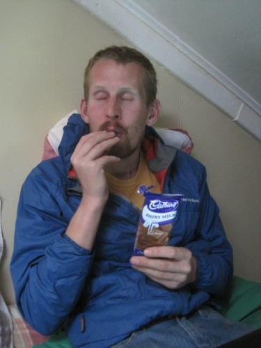 Enjoying a treat in Puerto Natales: Cadbury's Chocolate, sooooo good!