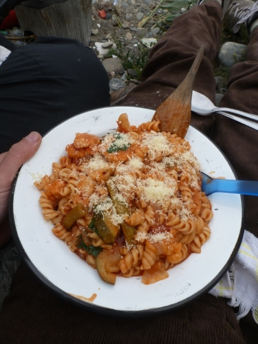 A long-overdue view of our pressure-cooker food: tomato and tuna pasta with parmesan cheese, mmmmm
