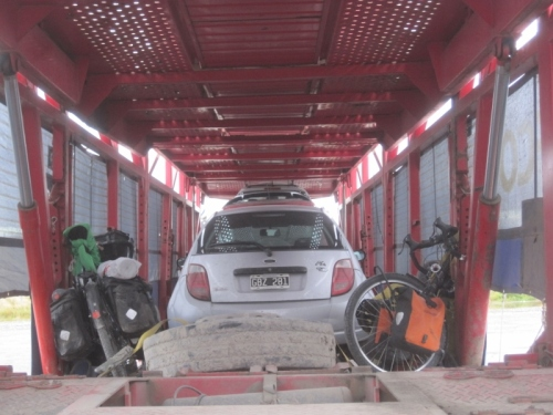 Our bikes safely strapped onto the car transporter