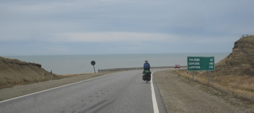 Cycling by the sea as the kilometres drop to reach Ushuaia