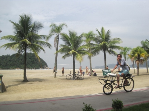 Watching the beach volleyball from the cycle-path