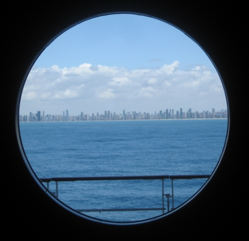 Another disembarkation destination appears in the porthole...Recife, Brazil