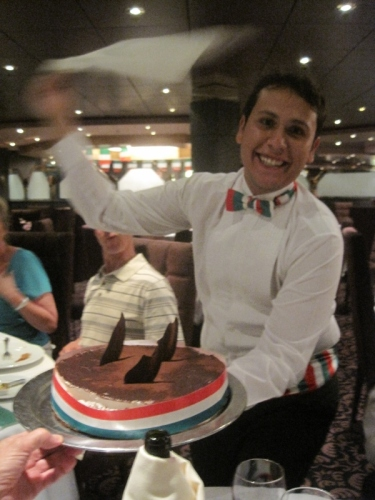 Italian night on board...Sergio with the tiramisu, mmmmm!