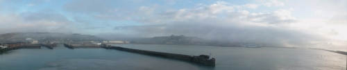 A familiar sight, early morning mist over the port of Dover, UK!