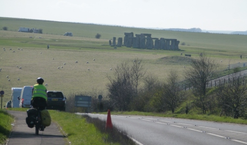 Approaching Stonehenge along the busy A303 road
