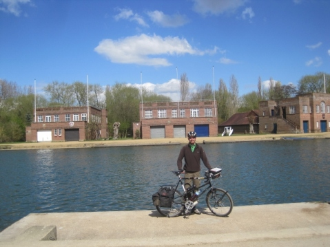 Cycling along the River Thames (Isis) in Oxford...LMH boathouse (Geoff's old college) in the background